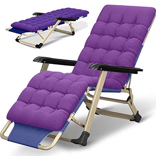 AKSHOME Klappbarer Liegestuhl Sun Loungers Office Siesta Stuhl Balkon Freizeit Siesta Bed Lounge Stuhl Lazy Beach Chair Für Erwachsene-Beidseitiges Rohr Lila + Perlwattepad