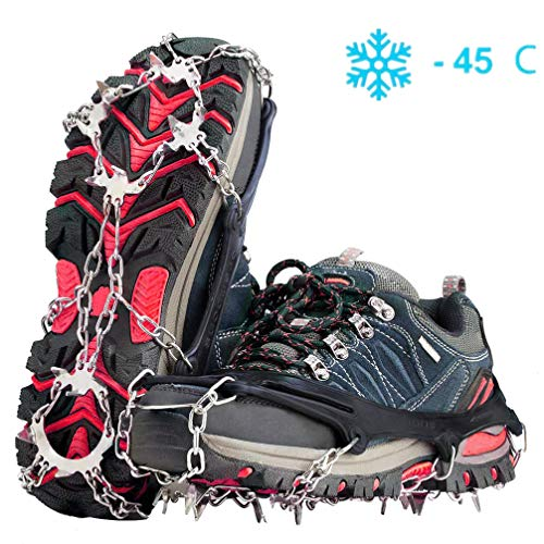 Gpeng Crampons Ice Cleats for Shoes and Boots Women Men Kids Anti Slip 19 Spikes Stainless Steel Microspikes for Hiking Fishing Walking Climbing Jogging Mountaineering
