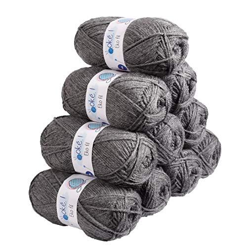 Fil à tricoter OKÉ, EKOFIL - 10 pelotes 50g/pelote - 100% acrylique. Fil classique adulte ou bébé