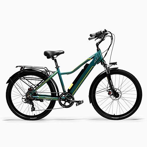 TYT Elektrisches Mountainbike Pard3.0 26-Zoll-Elektrofahrrad, 300-W-Citybike, Ölfeder-Federgabel, Pedal-Assist-Fahrrad, Lange Lebensdauer (Weiß, 15 Ah + 1 Ersatzbatterie),Grün