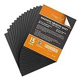 Magicfly Feuille Adhésive Magnétique Autocollante Plaque Aimantée 0.5mm Flexible pour Photos d'Artisanat DIY Couper Art (203mm x 254mm, 15pcs)