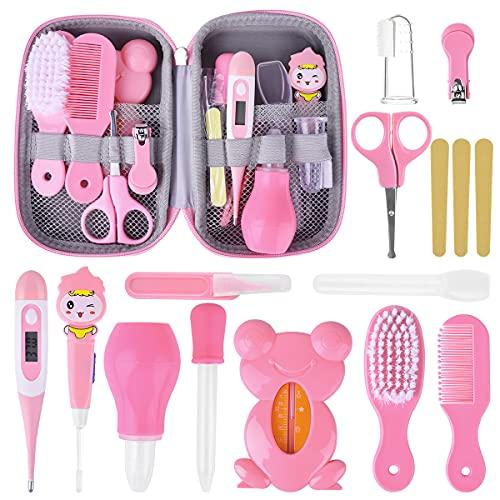 Apark Kit per la Cura del Bambino Forbicine Neonati Kit Manicure Neonato Tagliaunghie Neonato Set Neonato Igiene per la Cura del tuo Bambino 15 Pezzi (Rosa o Blu/a caso)