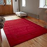 Flair Rugs Alfombra, Lana, Rojo, 200 cm x 290 cm
