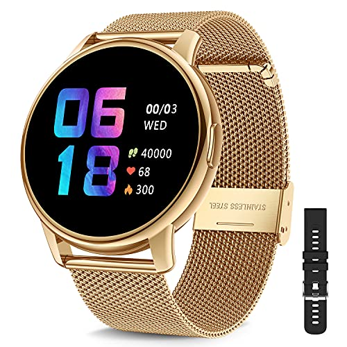 CanMixs Smartwatch Fitness Tracker Armbanduhr Damen Herren, 1.3-Zoll Touchscreen Fitnessuhr IP68 Wasserdicht Sportuhr Smart Watch mit Pulsuhren Schlafmonitor Schrittzähler Uhr für iOS Android Handy