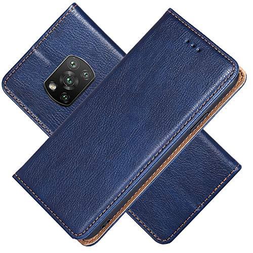 FANFO® Hülle für Xiaomi Poco X3 Pro/Xiaomi Poco X3 NFC HandyHülle, Premium Folio PU/TPU Leder Tasche Magnetverschlüsse Schutzhülle Flip Wallet Klapphülle Book Style Case Cover, Blau