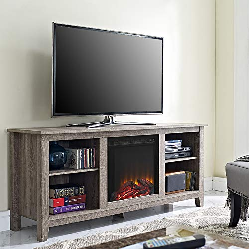 Walker Edison Furniture Company Electic Fireplace TV Stand, 58 Inch, Driftwood