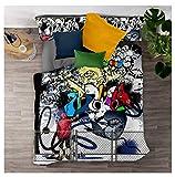 Timiany Juego De Sábanas Duvet Cover, Juego De Sábanas 3D Graffiti Hip Hop Print Deluxe Microfibra Suave con Cremallera Funda Nórdica Y Fundas De Almohada (Cultura callejera,135x200+80x80)