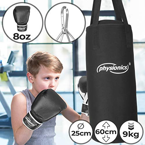 Kinder Boxsack-Set - mit Boxhandschuhen 8oz, Gefüllt, Ø28 cm, H65 cm, Gewicht 10kg, inkl. Karabinerhaken, für Junior Training - Sandsack, Kickboxen, MMA, Kampfsport, Muay Thai, Punching Bag