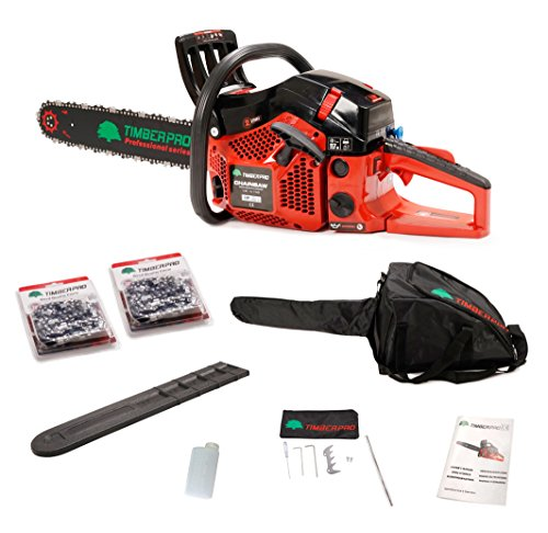 """An image of the TIMBERPRO Professional Series 62cc Petrol Chainsaw with 20"""" Bar and 2 Chains, Full Kit with 2 Year Warranty."""
