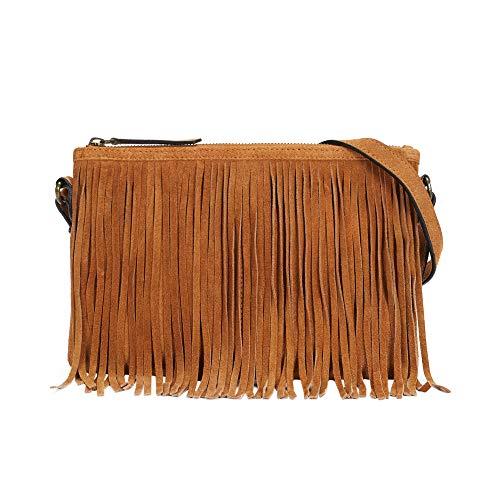 Parfois - Clutch - Bolso Bandolera Textura Ante Flecos - Mujeres - Tallas M - Camel