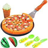 Liberty Imports Pizza Pie Cut & Serve Pretend Play Foods Set - Kitchen Fun Cuttable Food Toys - Early Development Educational Gift for Kids