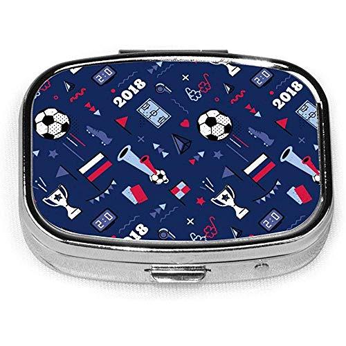 Nahtloses Muster mit Fußball und anderen Elementen Pillendose CaseTablet Medicine Pocket Geldbörse Travel Pill Box Case Holder