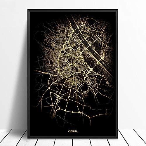 Serthny Schilderij schilderijen, Wenen City Light Maps Custom Wereld Stadsplan Posters Kunstdruk op canvas in Scandinavische stijl Wall Art Home Decor 60x90cm (23.62×35.43inch) no frame