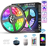 KATUR LED Strip Lights 16.4ft, IP65 Waterproof 150 LEDs 5050 RGB, 16 Million Colors, Smart WiFi APP and 24 Keys Controller Control, Works with Alexa Google Assistant Music Timed Dimmable Strip Lights