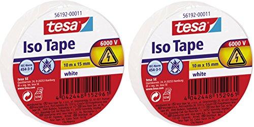 tesa 56192 ISO TAPE Isolierband, 10 m x 15 mm (2 Rollen, weiß)