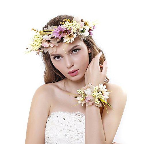 Ever Fairy® fascia per capelli con corona di fiori e fascia per il polso con ghirlanda floreale, set per matrimonio per donne e bambine Beige Taglia unica