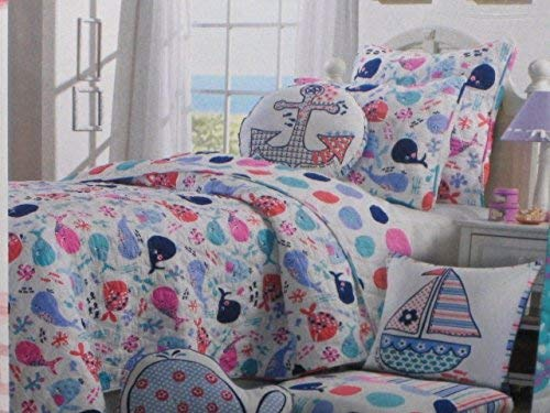 Nicole Miller Kids Twin Size Quilt Whales Fish Ocean Theme