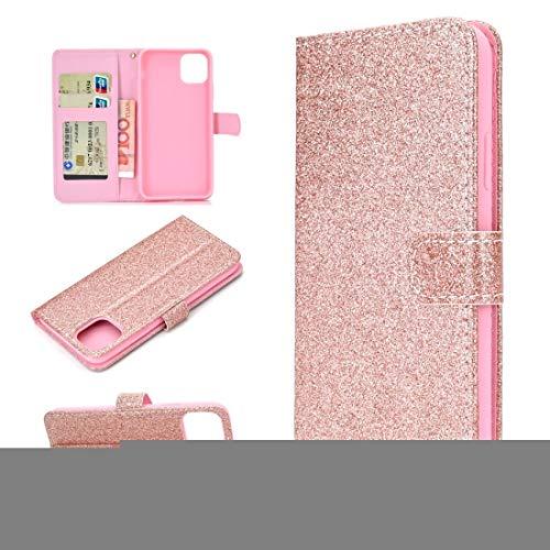 BAIYUNLONG Funda para iPhone 12/12 Pro Glitter Powder Horizontal Flip Funda de piel con ranuras para tarjetas, soporte y marco de fotos, cartera y cordón (color oro rosa)