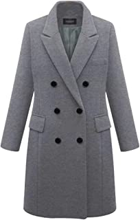 ebdb731d59426 Lutratocro Womens Fall Winter Wool Blend Overcoat Double Breasted Notched  Lapel Long Jacket Pea Coat