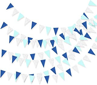 Boys Baby Shower Birthday Party Blue Bunting Pennant Banner Carnival Party Streamers Supplies Flags Banners Decorations