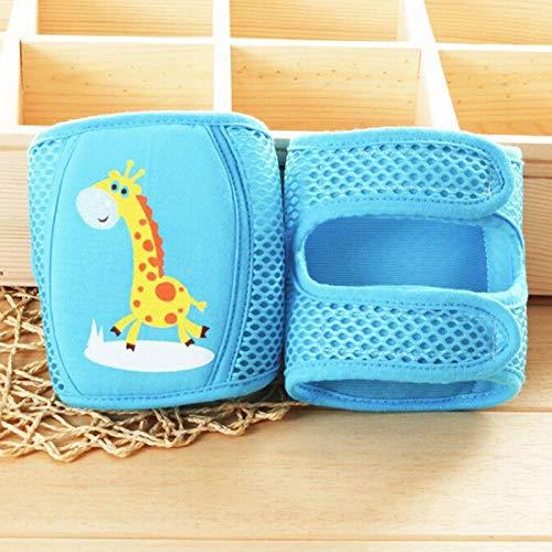 asx Rodilleras para mujer, protector de seguridad para primavera, verano, calentadores de piernas de malla de esponja ajustable para niños pequeños y niñas de 0 a 5 años (color: jirafa azul)