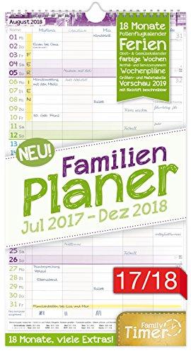 FamilienPlaner 2017/2018 23x42cm, 5 Spalten, Wandkalender 18 Monate Juli 2017-Dezember 2018 - Wandplaner, Familienkalender, Ferientermine, viele Zusatzinfos