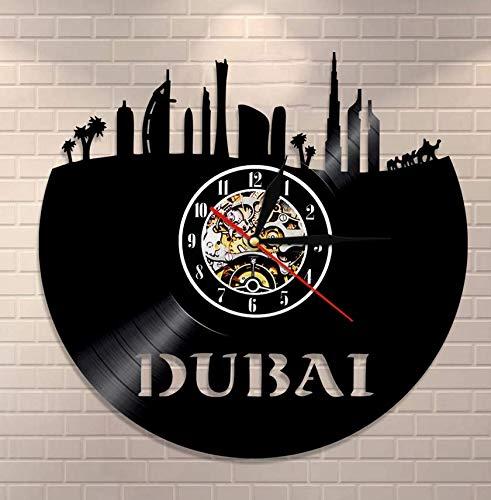 Reloj De Vinilo Colgante Emiratos Árabes Unidos Reloj de Pared Dubai Skyline Vinyl Record Clock UAE Paisaje Urbano Reloj Decorativo Decoración para el hogar Regalo de Viaje asiático 30cm