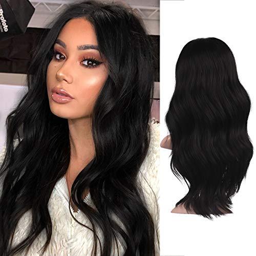 FESHFEN Perruque Femme Longue Ondulé, 55 cm Noir Full Wigs Perruques de Séparation Moyenne Synthétique Perruques Femmes Cheveux Naturels Perruque Long Wavy Wig