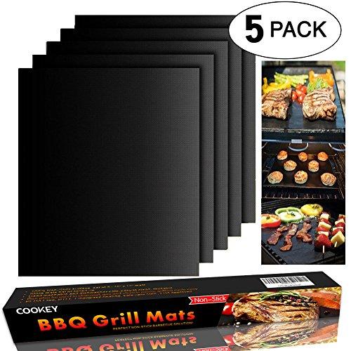 Cookey BBQ Grillmatten, 5er Set BBQ Antihaft Grill-und Backmatte Wiederverwendbar PFOA-Frei – Toll über Kohle, Gas und Weber Style Grills – Perfekt für Fleisch, Fisch und Gemüse 40x33 cm
