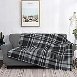 Manta de forro polar ultra suave para decoración del hogar, manta de franela antipilling para sofá, cama, campamento de 60 x 50 pulgadas, color negro y gris a cuadros