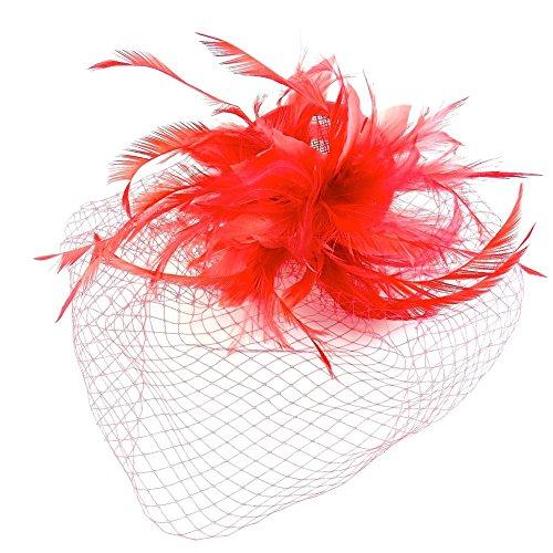 rougecaramel - Accessoires cheveux - Serre tête/headband de mariage cérémonies avec voilette - rouge