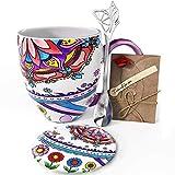 YC YANG CHAI YC Tranquility Cup - Set de regalo para los amantes del café (4 piezas, taza de café de porcelana XXL, platillo y cuchara extra larga)