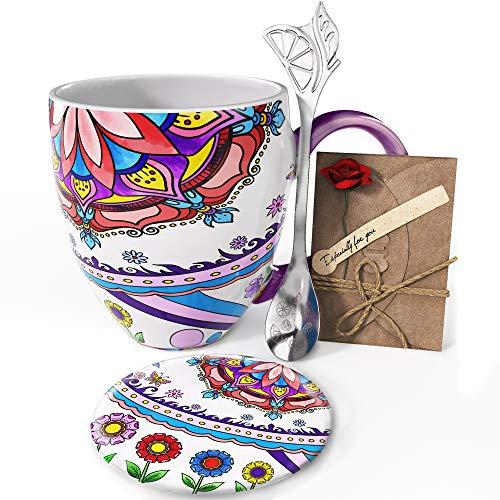 YC YANG CHAI 4-Teiliges Geschenkset für Kaffeeliebhaber - XXL- Porzellan-Kaffeebecher + Untersetzer + Extra-Langer Löffel - YC Tranquility Cup
