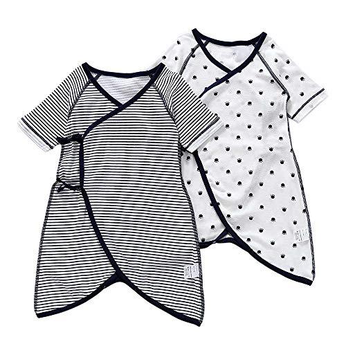 Baby nest 新生児肌着 2枚組 コンビ肌着 短肌着 綿100% 前開き 通年素材 新生児服 ベビー服 ストライプ 水...