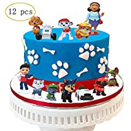 12 PCS Paw Dog Patrol Cake Topper,Birthday Party Cake Supplies
