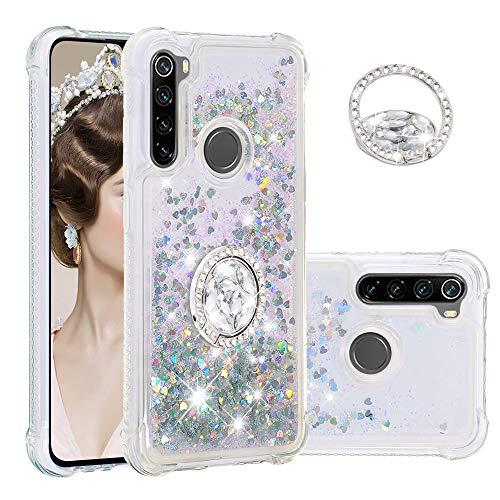 Hülle für Xiaomi Redmi Note 8 Diamant Ring Flüssig Treibsand Silikon TPU Bumper Hülle für Xiaomi Redmi Note 8 (Silber)