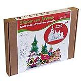 Arenart | Pack 5 Figuras de Papá Noel 40x35 | para Pintar con Arenas de Colores | Manualidades Infantiles | Decoración de Navidad en Familia | Pintar por números | +6 años