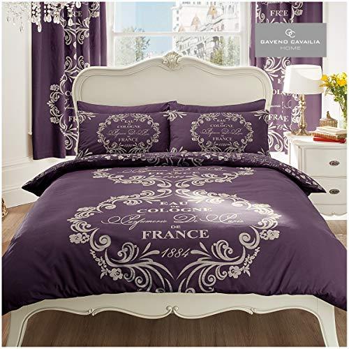 Gaveno Cavailia Luxurious SCRIPT PARIS Bed Set With Duvet Cover and Pillow Case, Polyester-Cotton, Purple , Double
