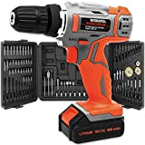 Terratek 89Pc Cordless Drill Driver 18V/20V-Max Li-Ion Combi Drill in Carry Case, Electric Screwdriver, Accessory Kit, LED Work Light, Quick Change Battery & Charger Included