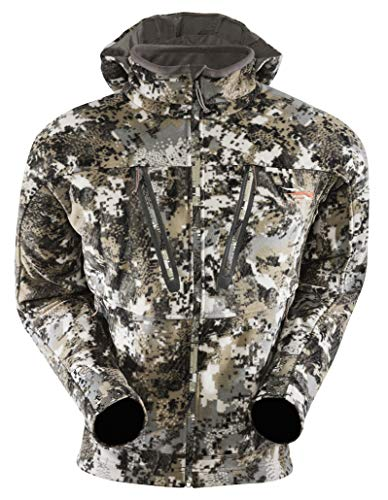 SITKA Gear Men's Stratus Windstopper Water Repellent Ultra-Quiet Fleece Hunting Jacket with Removable Hood, Elevated II, X-Large