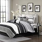 7 Piece Silver Grey Black Striped Comforter Cal King California Set, Gray White Adult Bedding Master Bedroom Stylish Patchwork Pintuck Pattern Elegant Themed Traditional Monochromatic Polyester Stripe