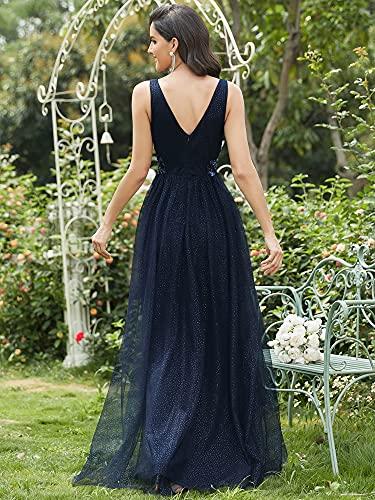 Ever-Pretty Vestido de Fiesta Largo Mujer Tul Lentejuelas Corte Imperio Apliques Escote V A-línea Azul Marino 38