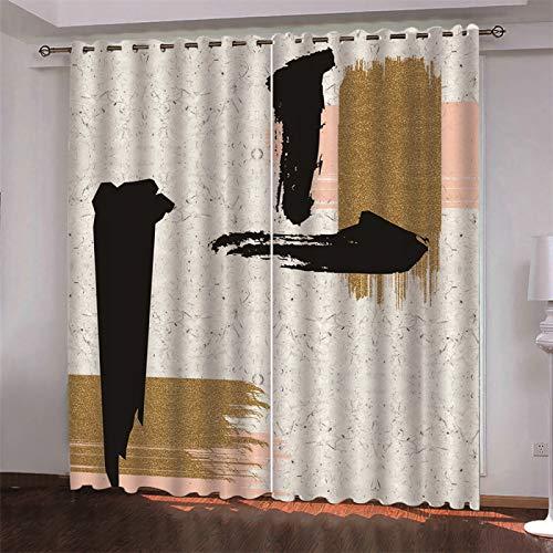 MMHJS Cortina De Poliéster Gruesa Europea 3D Hotel Dormitorio Sala De Estar Cortina De Partición Sanitaria Sombrilla Artículos para El Hogar 2 Piezas