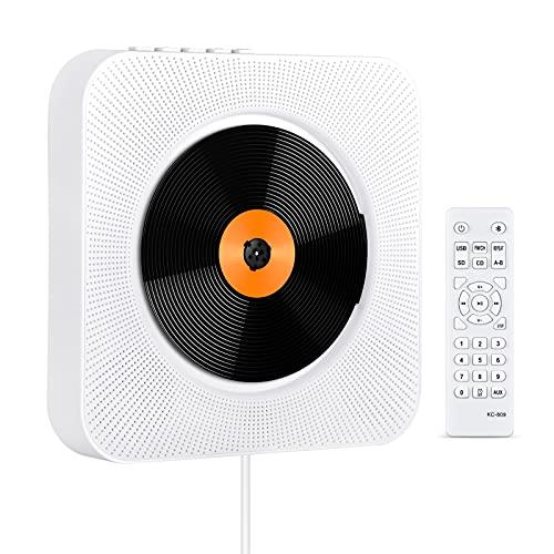 KOVCDVI CD Player mit Bluetooth Lautsprecher CD-Player für Wandmontage mit FM-Radio USB-Wiedergabe TF-Kartenwiedergabe AUX-Wiedergabe LCD-Bildschirm Fernbedienung Staubschutzhülle