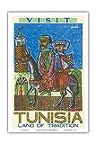 Pacifica Island Art Visitez Tunisie - Terre des Traditions - Afrique du Nord - Affiche de Voyage du Monde de...