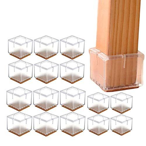YGMXZL 16 pieza Tapones de silicona cuadrados para las patas de las sillas,Tapas de la Pata de Mesa Silicona,Tapas para patas de mesa cuadradas transparentes,para patas de mesa (42-48MM)