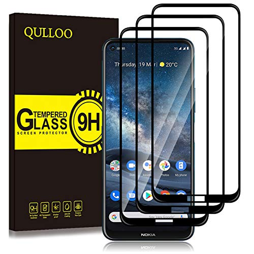 QULLOO Panzerglas für Nokia 8.3 5G, 9H Hartglas Schutzfolie HD Bildschirmschutzfolie Anti-Kratzen Panzerglasfolie Handy Glas Folie für Nokia 8.3 5G - [3 Stück] Schwarz