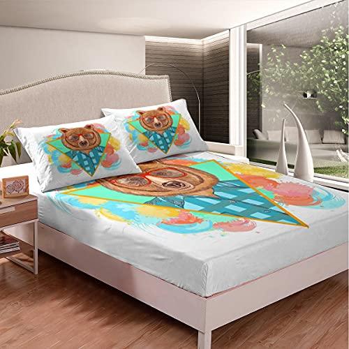 Loussiesd Juego de cama de dibujos animados Mr. Bear para niñas y niños lindo animal sábana bajera de oso juego de sábanas de cama divertido blanco tamaño doble 3 piezas