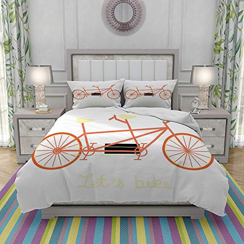 MOONLIT Duvet Cover Set-Bedding,Lets Bike Hand Lettering Quote and Retro Vehicle Summertime Hobby,Quilt Cover Bedlinen-Microfibre 140x200cm with 2 Pillowcase 50x80cm