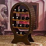 WLABCD Rack de Vino Hogar Titular Rojo Vino Rack Rack Restaurante S, Madera Iza Casa Creativa Hogar Europeo Retro Casco Bar de Vinos Decorados a Mano